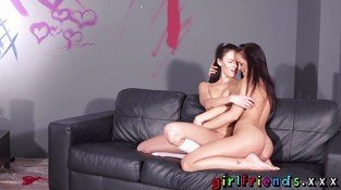 Girlfriends Artsy brunette lesbians eating pussy on the sofa