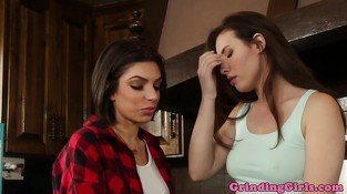 Lesbian beauties sixtynine in kitchen