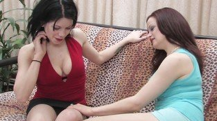 Two hot young lesbian babes lick their pussies
