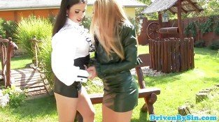 Rich lesbo fisted outdoors in all her holes