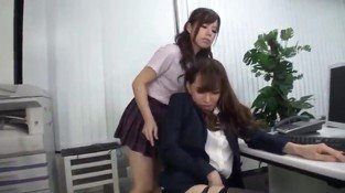 Horny asian teacher humps schoolgirl leg like a wildthing