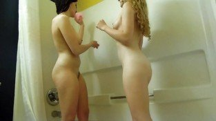 college girl college girl  lesbians shower together in hotel room